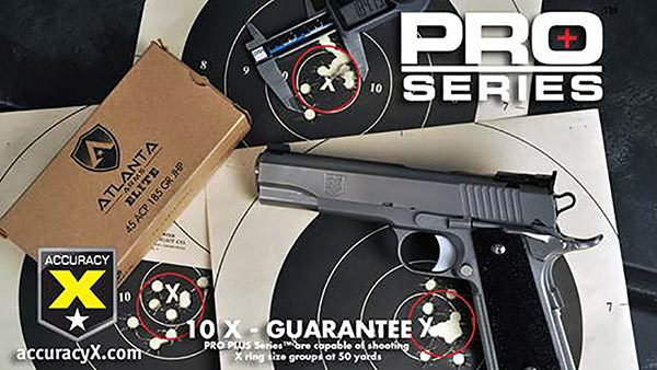 The PRO PLUS Series™ 1911s are focused directly toward competitive CMP Service Pistol and Bullseye shooters and come with a 10 shot, 10x group size guarantee at 50 yards (about a two inch group size). It's designed to be a very accurate competition 1911 that will be used by competitive Service and Bullseye shooters.