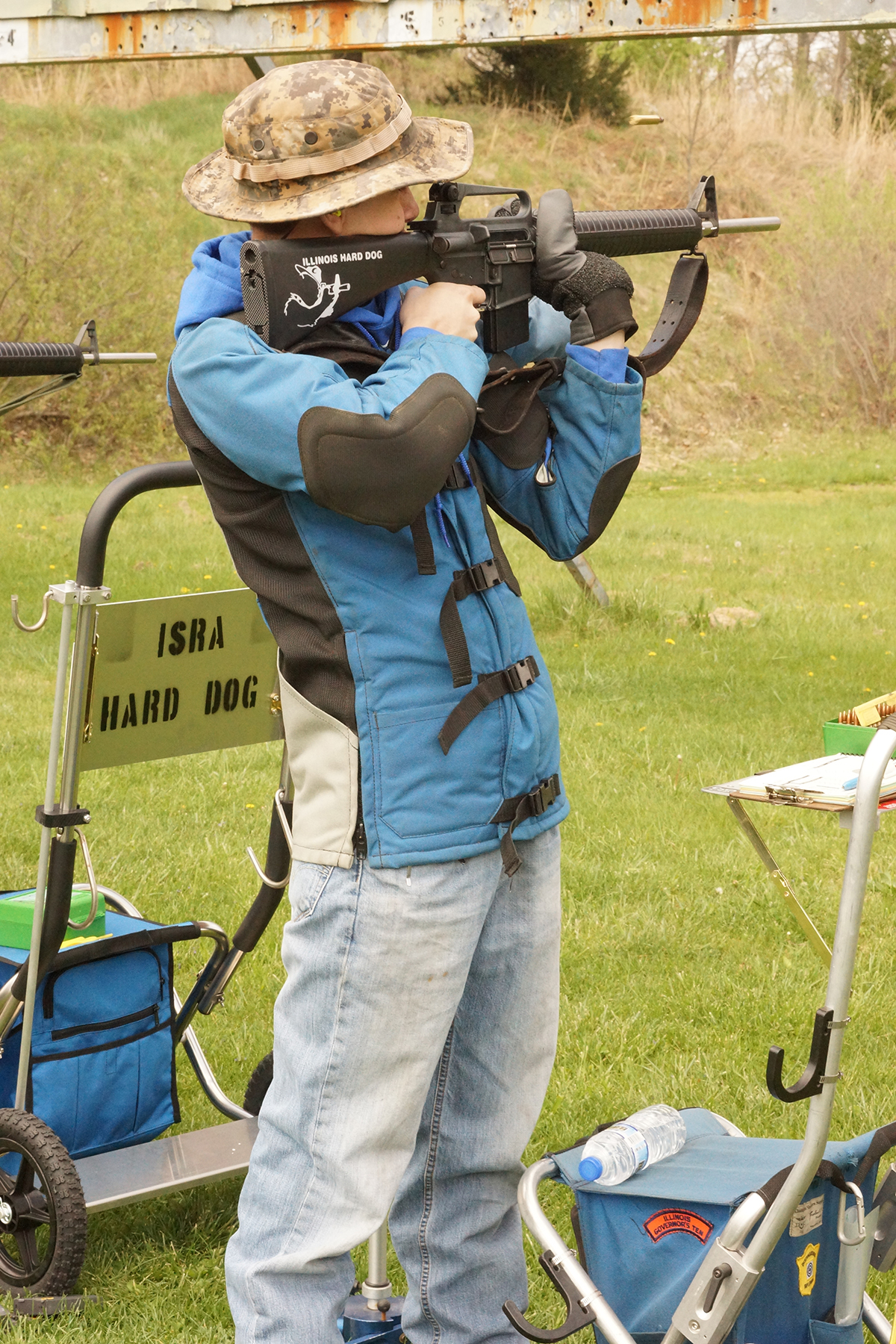 Alex Vitous, in standing position, during the Hard Dog Day at the ISRA Range in Bonfield, IL.