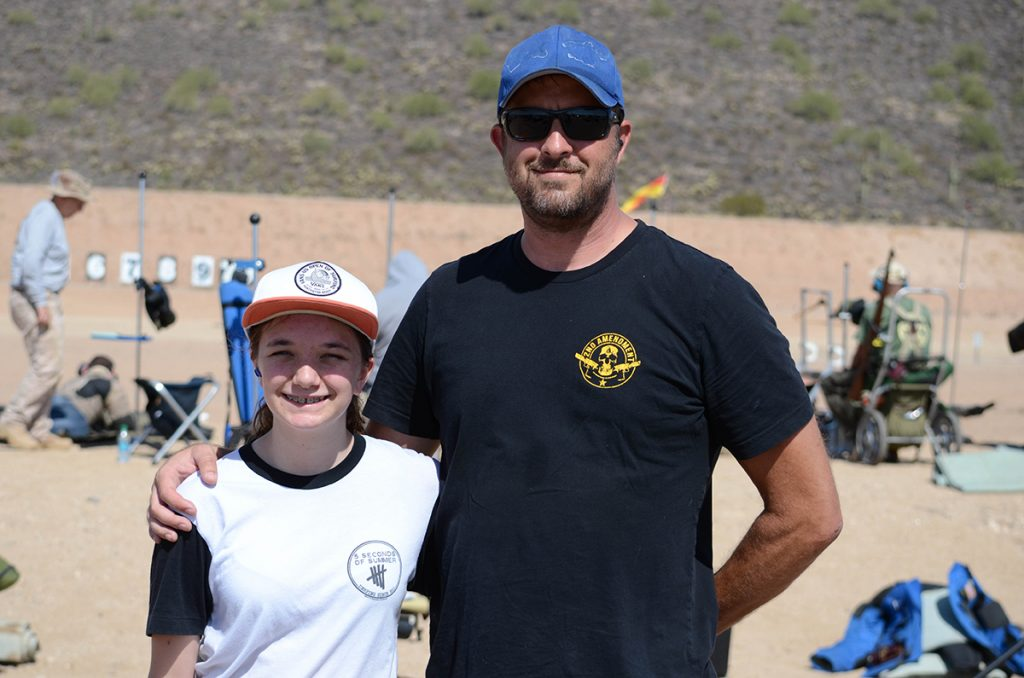 Blue Beckham and his daughter McKenna attended Western Games for the first time this year. Both participated in the Small Arms Firing School, where McKenna fired in her first M16 Match.