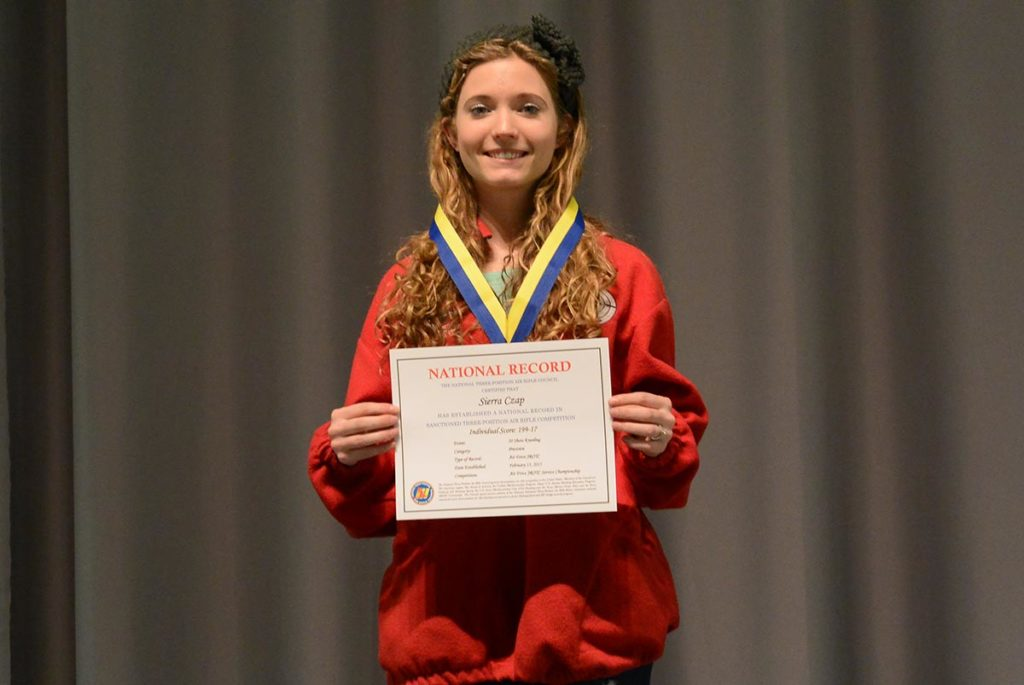 Sierra Czap of Franklin County High School, VA, was the high Precision shooter in the Air Force competition. She also set a new Air Force JROTC 20 Shot Kneeling record, with her individual score of 199-17x. Her team placed first in the team competition.