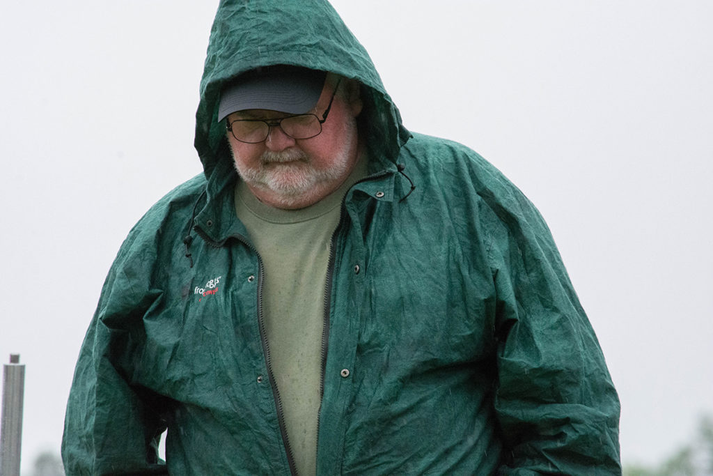 At this year's Eastern Games, Bill was greeted with rain showers during the Vintage Sniper match.