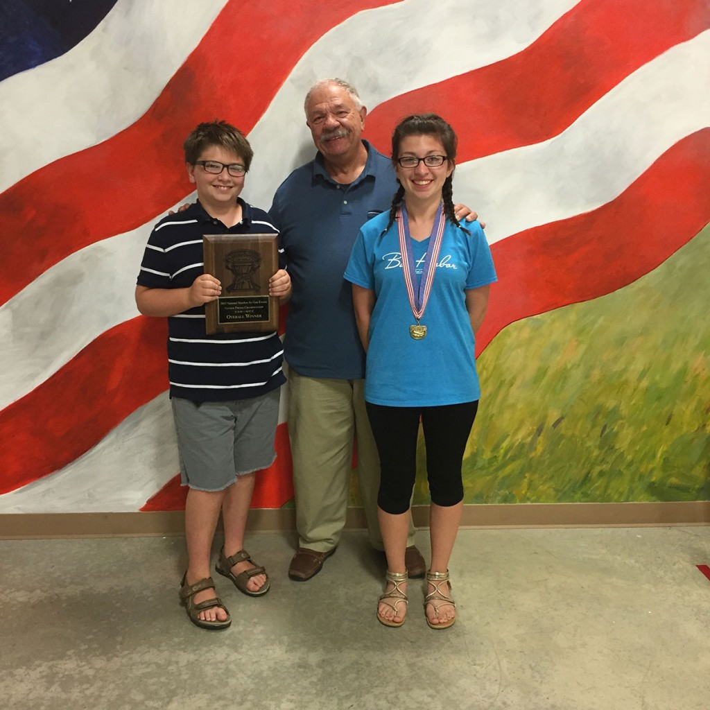 Family affair at the NMAGE this summer. Jaren won novice prone, grandpa Chris Mullis won Top Center Shot and Brooke took 2nd in Top Center shot.