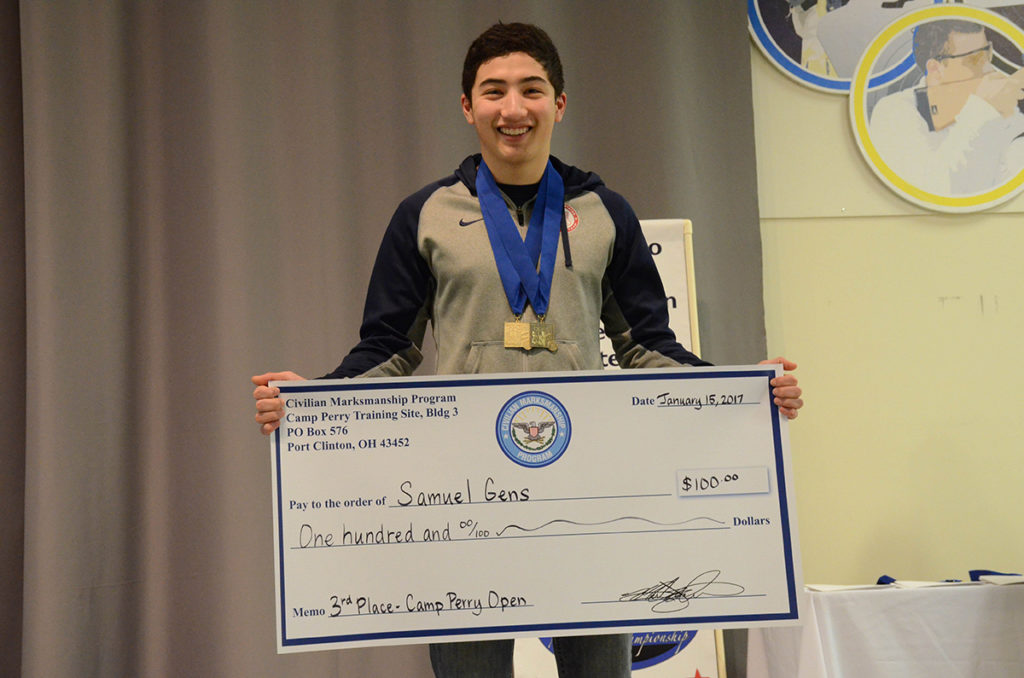 Junior Samuel Gens earned third place in the Open Pistol match and led overall in the Junior competition.