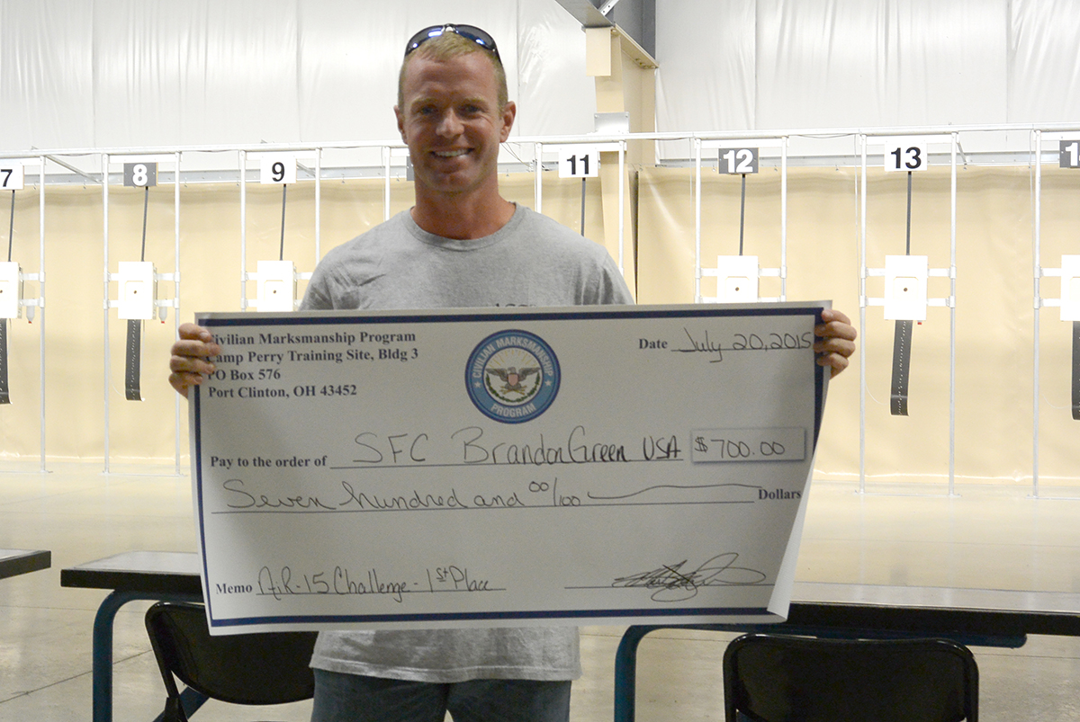 SFC Brandon Green, 30, of the Army Marksmanship Unit, was the winner of the AiR 15 challenge – finishing with an exceptional score of 199-7x out of a possible 200.