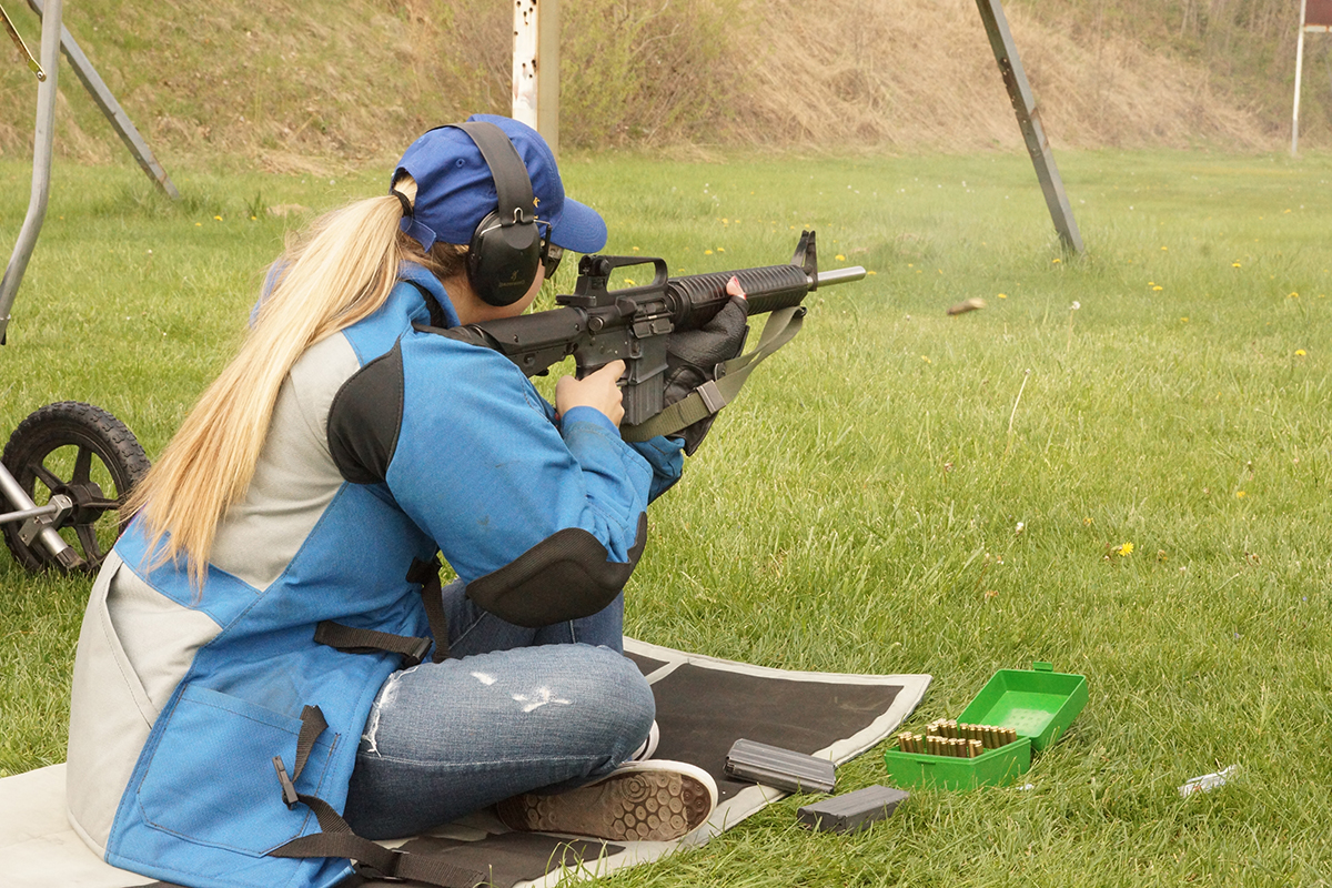 Kylie Sutton in sitting position during the April Hard Dog Day at the ISRA Range in Bonfield, IL.