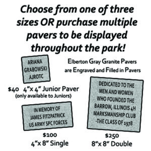 """Clubhouse Row, at the foot of the 600-yard highpower range, features pavers that can be personalized with individual, club or company names, dates and special messages. The 4"""" x 8"""" and 8"""" x 8"""" engraved pavers are a way to recognize and honor family, friends, veterans, and fellow shooters. A special 4"""" x 4"""" engraved paver is also available for junior shooters."""