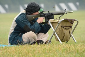 Competitors follow a National Match Course of Fire for the events, including a rapid fire sequence that tests each marksman's accuracy and control.