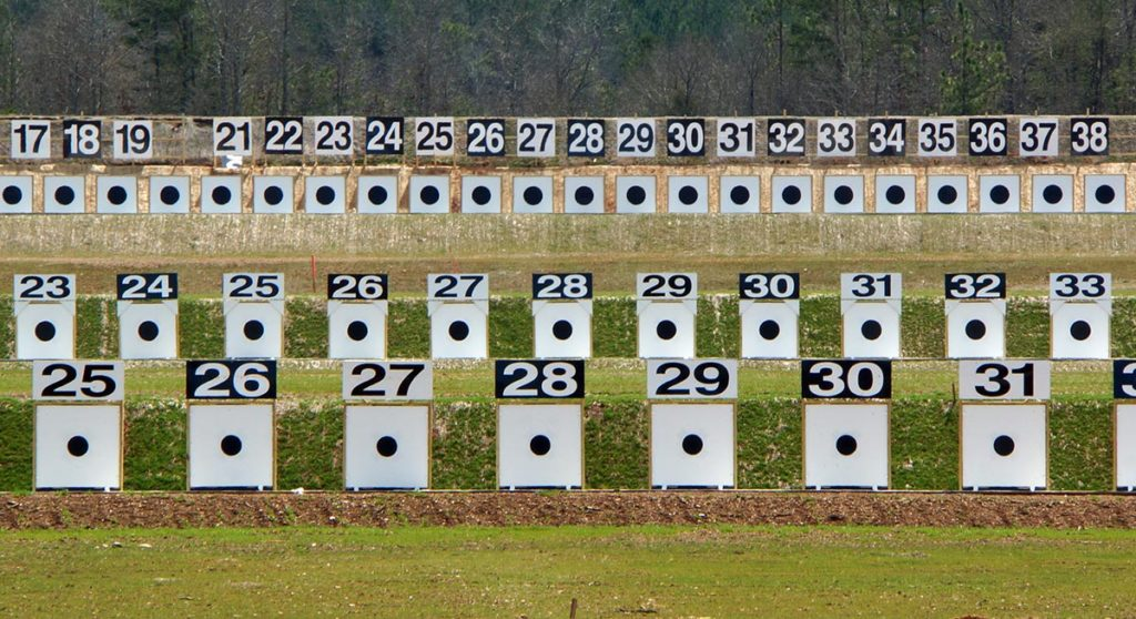 The electronic scoring targets at the CMP's Talladega Marksmanship Park allow highpower rifle competitors to complete an entire Service Rifle EIC match while firing at 200, 300 and 600 yards while not changing firing points or pulling targets in the pits.