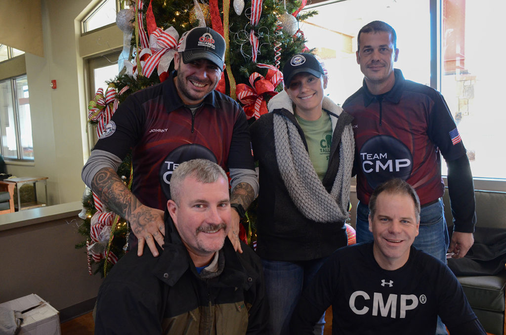 Team CMP, standing from left: Johnny Fisher, Sara Rozanski, Nick Till; kneeling from left: Robert Taylor, Ryan Vander Poppen