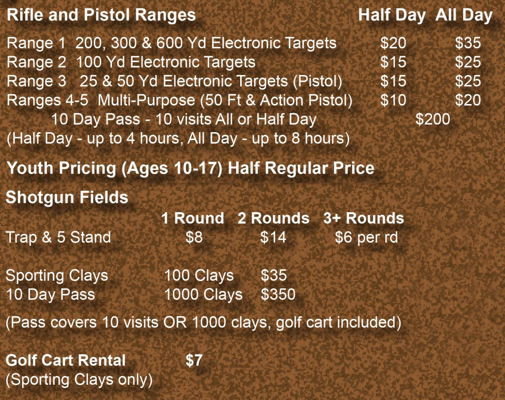 CMP Talladega Marksmanship Park Fees