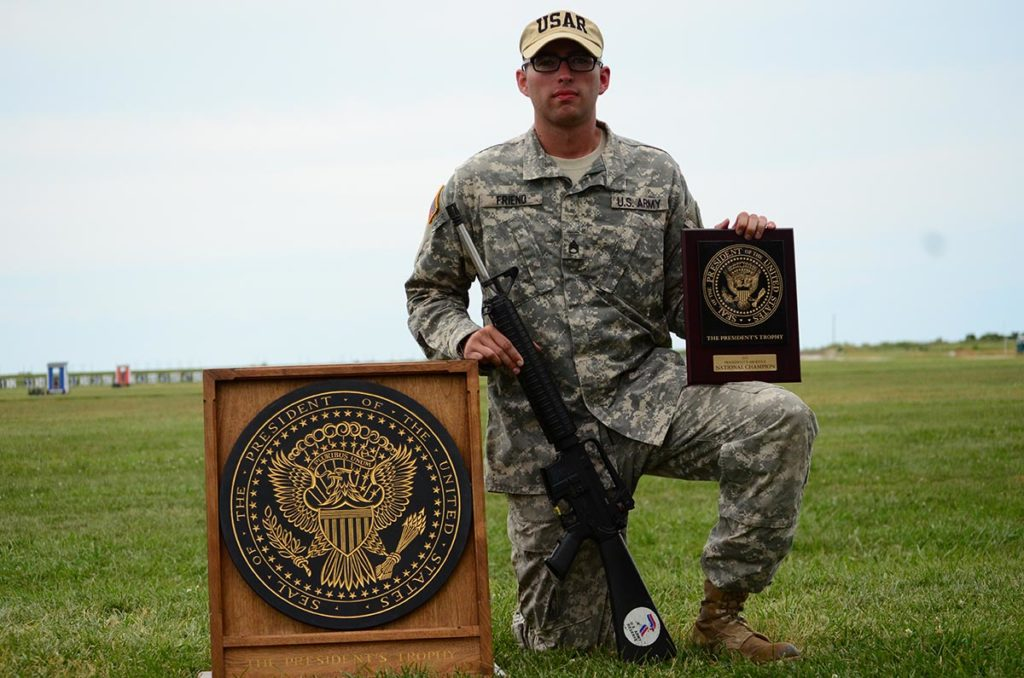 SSG Kristoffer Friend of the U.S. Army Reserve, earned the prestigious President's Rifle Trophy after firing a finals score of 97-5x during the President's 100 Match Shoot Off and reaching an outstanding aggregate score of 395-15x.