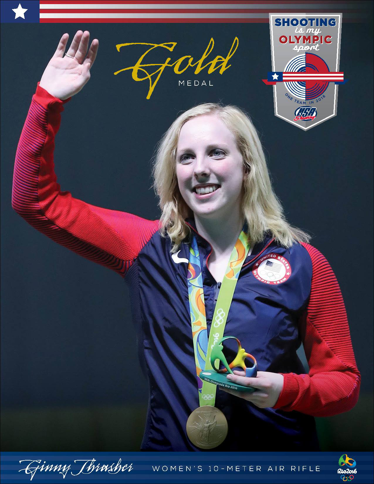 The first medal awarded during the 2016 Rio Olympic Games was in Women's Air Rifle. 19-year old Ginny Thrasher had a golden performance during her first Olympic appearance and won the Gold Medal for Team USA.