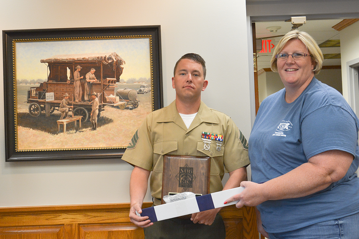 SSgt Josh Heckman, 30, of the U.S. Marine Corps, was the high competitor of the SAFS M16 Match. Shannon Hand, CMP Competitions Manager, awarded SSgt Heckman with his plaque and barrel donated by Criterion Barrels.