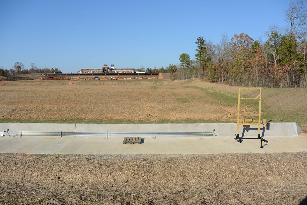 The first official match at the Marksmanship Park will be fired on June 6, 2015 – the anniversary of D-Day. Competitors will fire on state-of-the-art electronic targets, which are raised and lowered by lifters (seen to the right in the photo). The clubhouse (background) will overlook the 600-yard range.