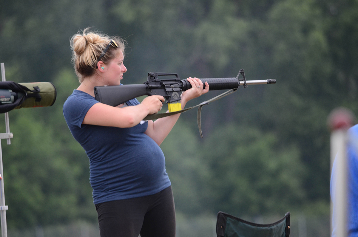 Astonishingly, Morgan Mowrer fired in the SAFS M16 Match eight months pregnant. This was her first time competing at the National Matches.
