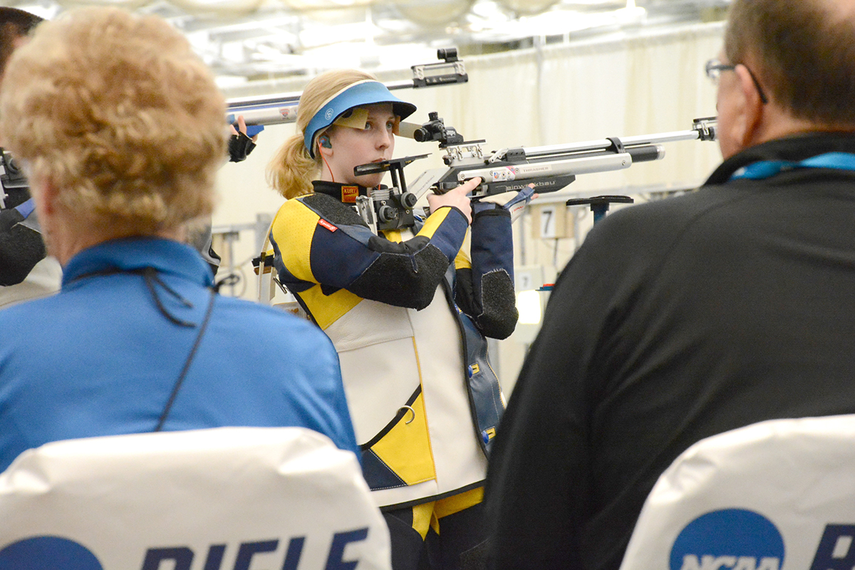 At the 2016 NCAA National Championship in Akron, Ohio, Ginny Thrasher was the first freshman in history to sweep both the Smallbore and Air Rifle competitions. With her outstanding performance at NCAA Nationals, Ginny Thrasher helped her team receive its fourth consecutive National Title – led by coach and Olympian Jon Hammond.