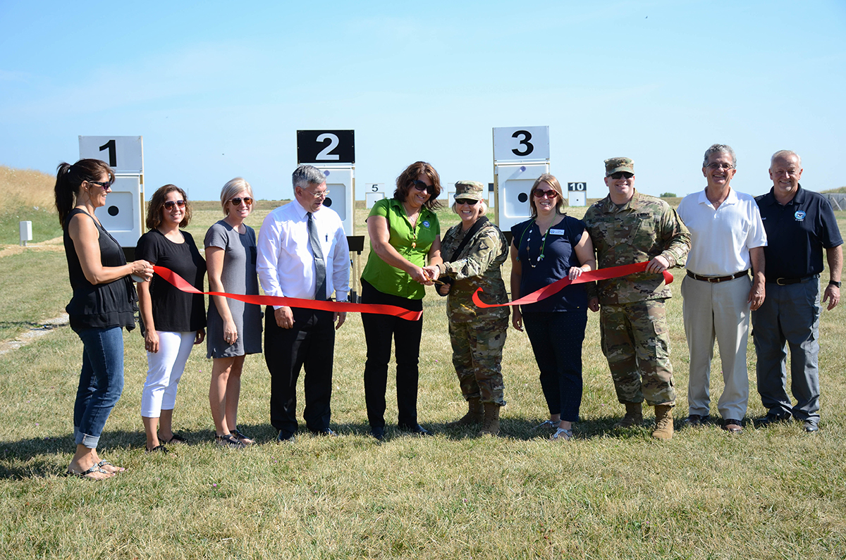 On July 21, CMP staff and distinguished guests arrived at Petrarca Range on Camp Perry to cut the ceremonial ribbon that officially opened the new outdoor electronic highpower target range. The range will be open to the public during the National Matches and will also will have scheduled open nights throughout the remainder of the year.