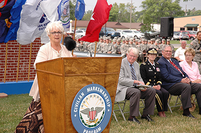 CMP Chairman Judith Legerski served as emcee during the First Shot Ceremony.