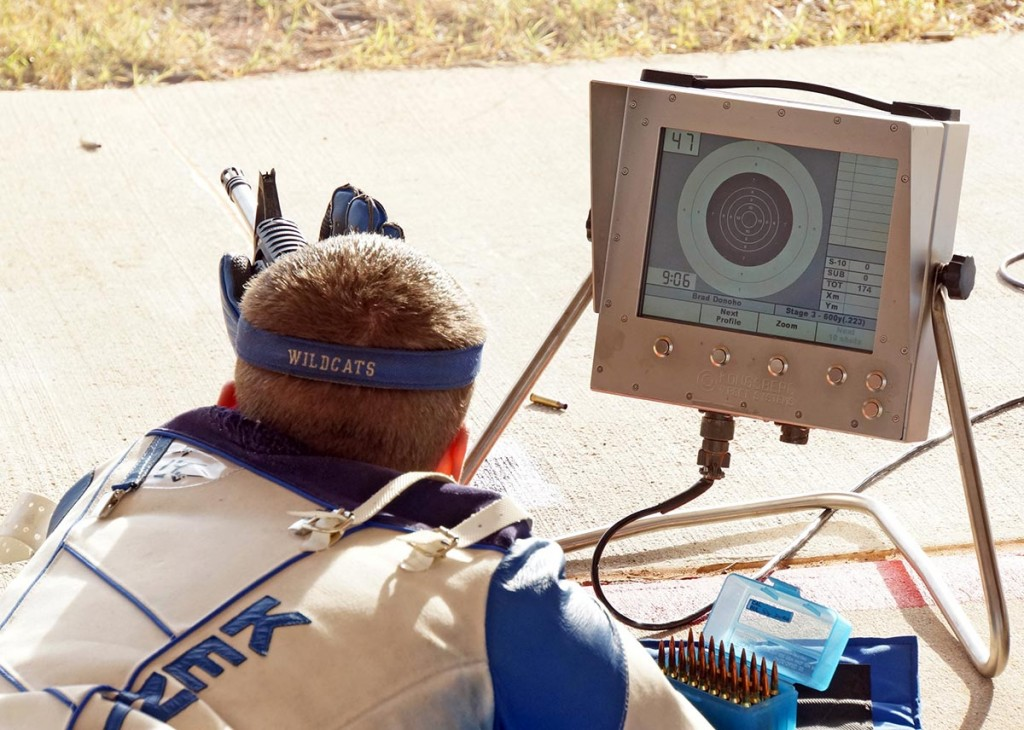 Here is a typical firing point set-up for shooting service rifles on the CMP Talladega Marksmanship Park highpower rifle range. Competitors' shot locations and official scores are indicated on their firing point monitors immediately after each shot.